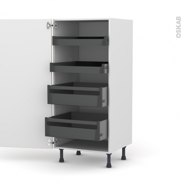 STILO Noyer Blanchi - Armoire rangement N°27 - 4 tiroirs à l'anglaise - L60xH125xP58