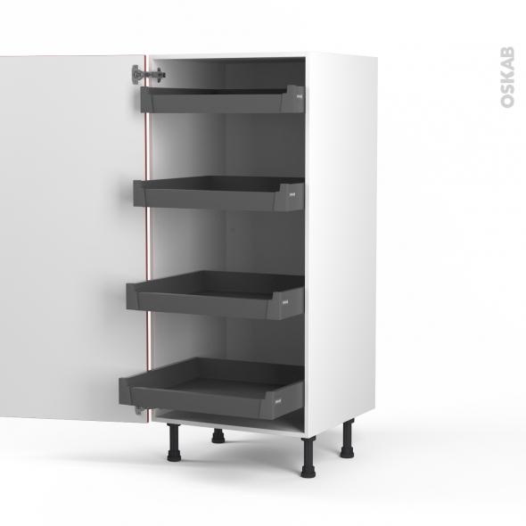 HELIO Rouge - Armoire rangement N°27 - 4 tiroirs à l'anglaise - L60xH125xP58