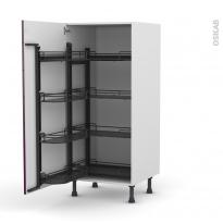 Colonne de cuisine N°27 - Armoire de rangement - KERIA Aubergine - 8 paniers plateaux - L60 x H125 x P58 cm