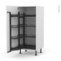 Colonne de cuisine N°27 - Armoire de rangement ouvrante - GINKO Blanc - 8 paniers plateaux - L60 x H125 x P58 cm
