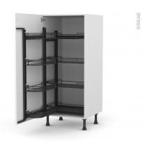 Colonne de cuisine N°27 - Armoire de rangement - PIMA Blanc - 8 paniers plateaux - L60 x H125 x P58 cm