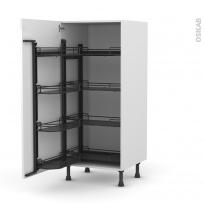 Colonne de cuisine N°27 - Armoire de rangement - STECIA Blanc - 8 paniers plateaux - L60 x H125 x P58 cm