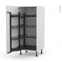 Colonne de cuisine N°27 - Armoire de rangement - KERIA Bleu - 8 paniers plateaux - L60 x H125 x P58 cm