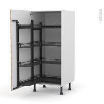 Colonne de cuisine N°27 - Armoire de rangement ouvrante - HOSTA Chêne naturel - 8 paniers plateaux - L60 x H125 x P58 cm