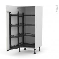 Colonne de cuisine N°27 - Armoire de rangement ouvrante - KERIA Ivoire - 8 paniers plateaux - L60 x H125 x P58 cm