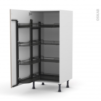 Colonne de cuisine N°27 - Armoire de rangement - KERIA Moka - 8 paniers plateaux - L60 x H125 x P58 cm