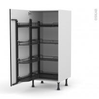 Colonne de cuisine N°27 - Armoire de rangement ouvrante - GINKO Noir - 8 paniers plateaux - L60 x H125 x P58 cm