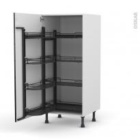 Colonne de cuisine N°27 - Armoire de rangement - KERIA Noir - 8 paniers plateaux - L60 x H125 x P58 cm