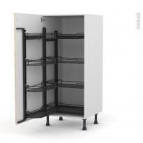 Colonne de cuisine N°27 - Armoire de rangement - STILO Noyer Blanchi - 8 paniers plateaux - L60 x H125 x P58 cm