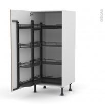 Colonne de cuisine N°27 - Armoire de rangement - GINKO Taupe - 8 paniers plateau - L60 x H125 x P58 cm
