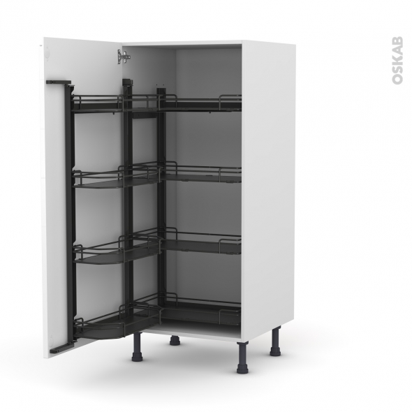 Colonne de cuisine N°27 - Armoire de rangement - IPOMA Blanc - 8 paniers plateaux - L60 x H125 x P58 cm