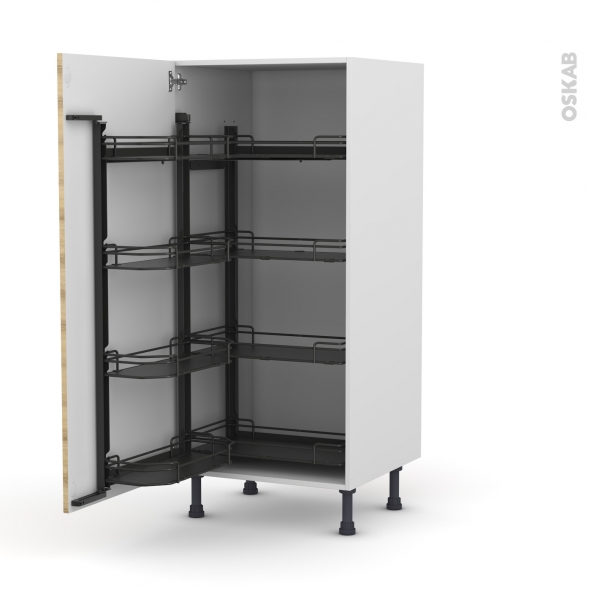 Colonne de cuisine N°27 - Armoire de rangement - HOSTA Chêne naturel - 8 paniers plateaux - L60 x H125 x P58 cm