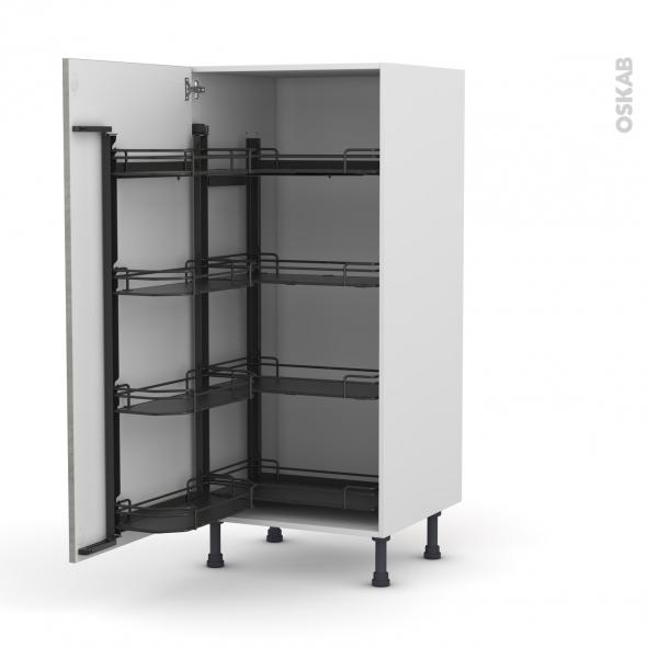 Colonne de cuisine N°27 - Armoire de rangement - FAKTO Béton - 8 paniers plateaux - L60 x H125 x P58 cm