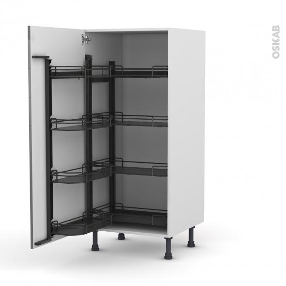 Colonne de cuisine N°27 - Armoire de rangement - STECIA Gris - 8 paniers plateaux - L60 x H125 x P58 cm