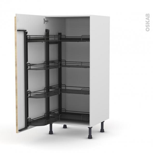 Colonne de cuisine N°27 - Armoire de rangement - IPOMA Chêne naturel - 8 paniers plateaux - L60 x H125 x P58 cm