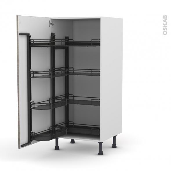 Colonne de cuisine N°27 - Armoire de rangement - STILO Noyer Naturel - 8 paniers plateaux - L60 x H125 x P58 cm