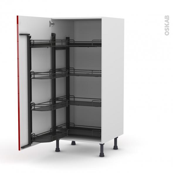 Colonne de cuisine N°27 - Armoire de rangement - STECIA Rouge - 8 paniers plateaux - L60 x H125 x P58 cm