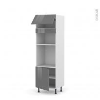 Colonne de cuisine N°1016 - Four+MO encastrable niche 36/38 - STECIA Gris - 1 abattant 1 porte - L60 x H195 x P58 cm