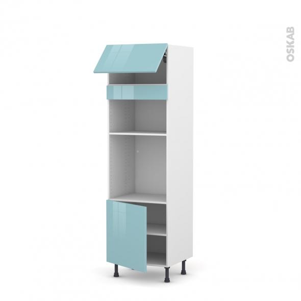 Colonne de cuisine N°1016 - Four+MO encastrable niche 36/38 - KERIA Bleu - 1 abattant 1 porte - L60 x H195 x P58 cm