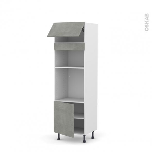 Colonne de cuisine N°1016 - Four+MO encastrable niche 36/38 - FAKTO Béton - 1 abattant 1 porte - L60 x H195 x P58 cm