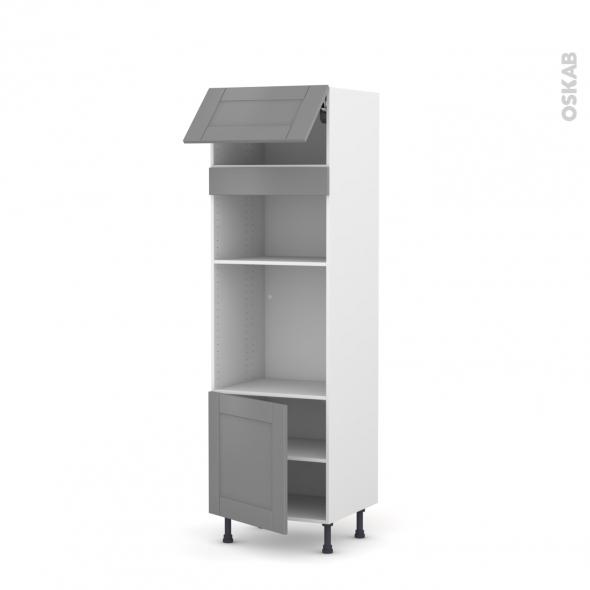 Colonne de cuisine N°1016 - Four+MO encastrable niche 36/38 - FILIPEN Gris - 1 abattant 1 porte - L60 x H195 x P58 cm