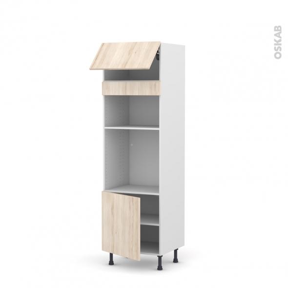 Colonne de cuisine N°1016 - Four+MO encastrable niche 36/38 - IKORO Chêne clair - 1 abattant 1 porte - L60 x H195 x P58 cm