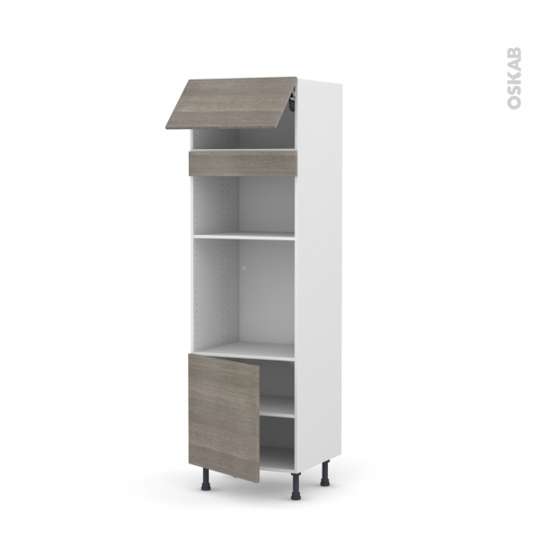 Colonne de cuisine N°1016 - Four+MO encastrable niche 36/38 - STILO Noyer Naturel - 1 abattant 1 porte - L60 x H195 x P58 cm