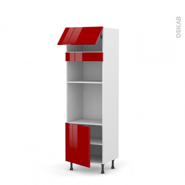 Colonne de cuisine N°1016 - Four+MO encastrable niche 36/38 - STECIA Rouge - 1 abattant 1 porte - L60 x H195 x P58 cm