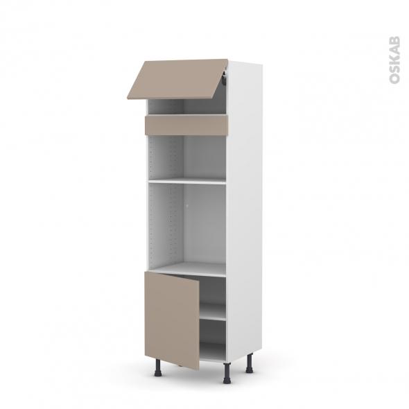 Colonne de cuisine N°1016 - Four+MO encastrable niche 36/38 - GINKO Taupe - 1 abattant 1 porte - L60 x H195 x P58 cm