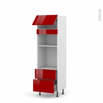 Colonne de cuisine N°1058 - Four+MO encastrable niche 36/38 - STECIA Rouge - 1 abattant 2 casseroliers - L60 x H195 x P58 cm