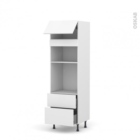 Colonne de cuisine N°1058 - Four+MO encastrable niche 36/38 - GINKO Blanc - 1 abattant 2 casseroliers - L60 x H195 x P58 cm