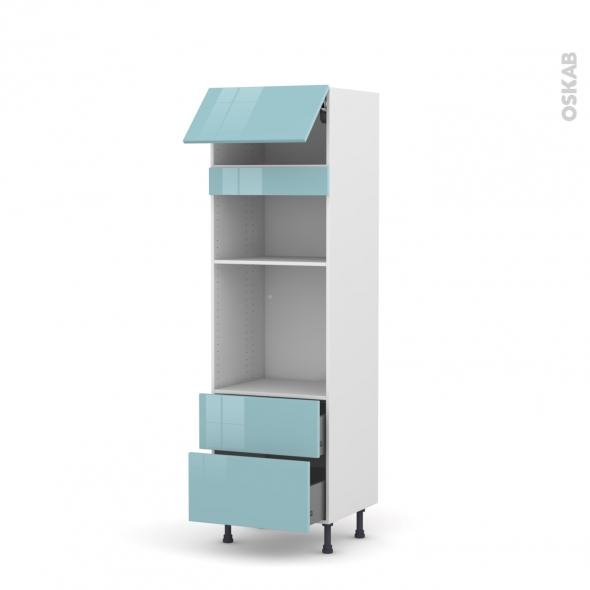 Colonne de cuisine N°1058 - Four+MO encastrable niche 36/38 - KERIA Bleu - 1 abattant 2 casseroliers - L60 x H195 x P58 cm