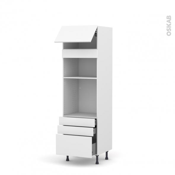 Colonne de cuisine N°1059 - Four+MO encastrable niche 36/38 - GINKO Blanc - 1 abattant 3 tiroirs - L60 x H195 x P58 cm