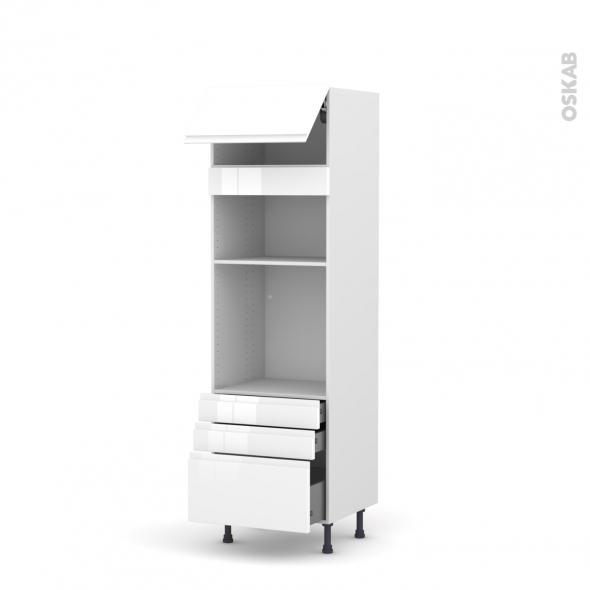 Colonne de cuisine N°1059 - Four+MO encastrable niche 36/38 - IPOMA Blanc - 1 abattant 3 tiroirs - L60 x H195 x P58 cm