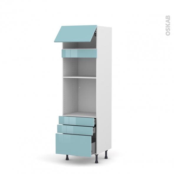 Colonne de cuisine N°1059 - Four+MO encastrable niche 36/38 - KERIA Bleu - 1 abattant 3 tiroirs - L60 x H195 x P58 cm