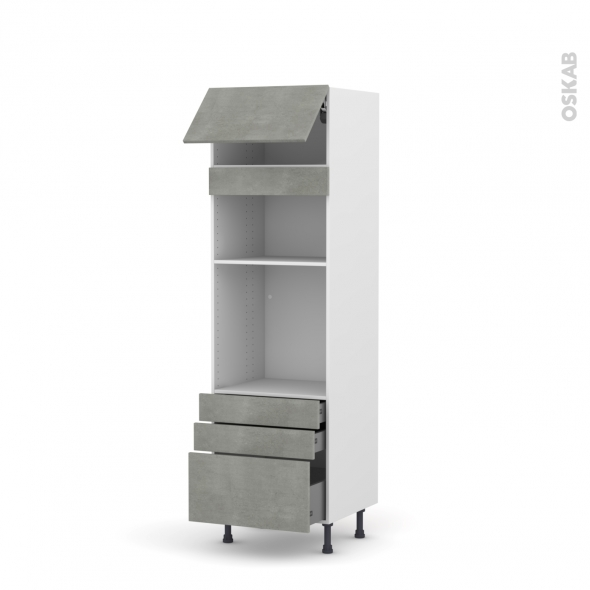 Colonne de cuisine N°1059 - Four+MO encastrable niche 36/38 - FAKTO Béton - 1 abattant 3 tiroirs - L60 x H195 x P58 cm