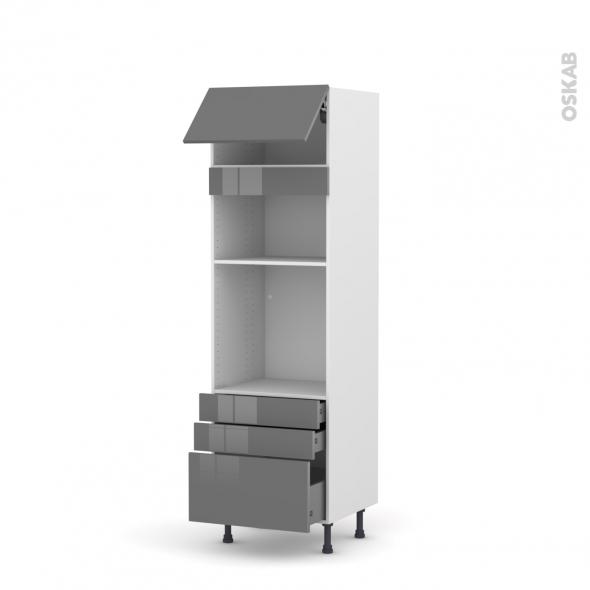 Colonne de cuisine N°1059 - Four+MO encastrable niche 36/38 - STECIA Gris - 1 abattant 3 tiroirs - L60 x H195 x P58 cm