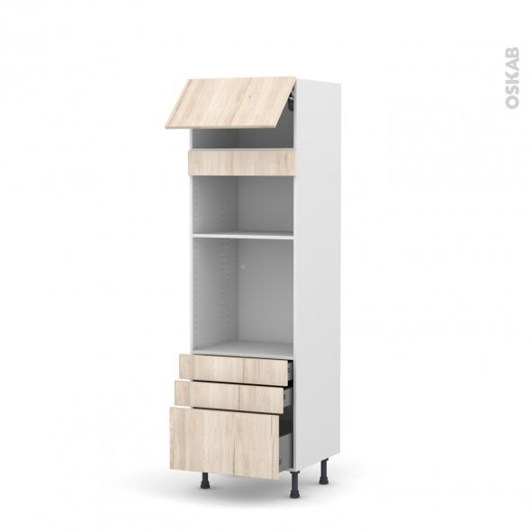 Colonne de cuisine N°1059 - Four+MO encastrable niche 36/38 - IKORO Chêne clair - 1 abattant 3 tiroirs - L60 x H195 x P58 cm