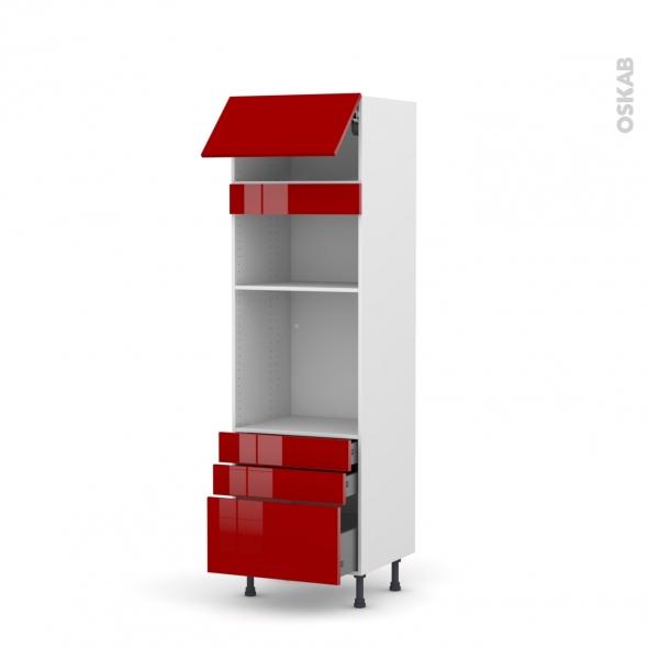 Colonne de cuisine N°1059 - Four+MO encastrable niche 36/38 - STECIA Rouge - 1 abattant 3 tiroirs - L60 x H195 x P58 cm
