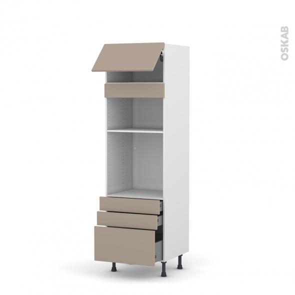 Colonne de cuisine N°1059 - Four+MO encastrable niche 36/38 - GINKO Taupe - 1 abattant 3 tiroirs - L60 x H195 x P58 cm