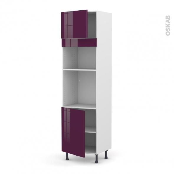 Colonne de cuisine N°1321 - Four+MO encastrable niche 36/38 - KERIA Aubergine - 2 portes - L60 x H217 x P58 cm