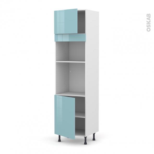 Colonne de cuisine N°1321 - Four+MO encastrable niche 36/38 - KERIA Bleu - 2 portes - L60 x H217 x P58 cm