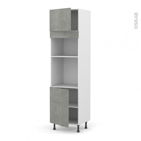 Colonne de cuisine N°1321 - Four+MO encastrable niche 36/38 - FAKTO Béton - 2 portes - L60 x H217 x P58 cm