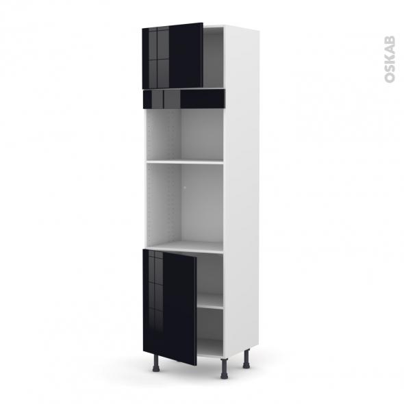 Colonne de cuisine N°1321 - Four+MO encastrable niche 36/38 - KERIA Noir - 2 portes - L60 x H217 x P58 cm