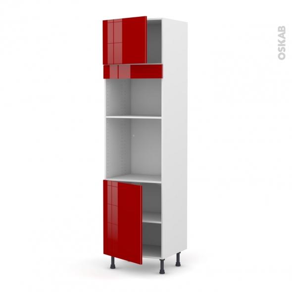 Colonne de cuisine N°1321 - Four+MO encastrable niche 36/38 - STECIA Rouge - 2 portes - L60 x H217 x P58 cm