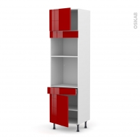 Colonne de cuisine N°1356 - Four+MO encastrable niche 36/38 - STECIA Rouge - 2 portes 1 tiroir - L60 x H217 x P58 cm