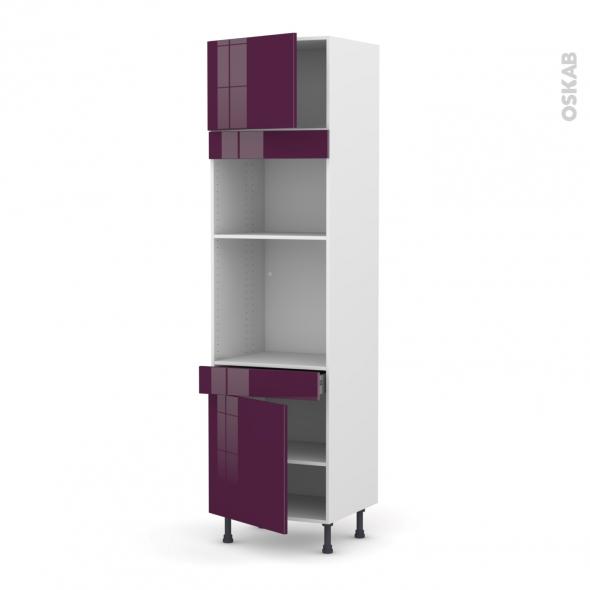 Colonne de cuisine N°1356 - Four+MO encastrable niche 36/38 - KERIA Aubergine - 2 portes 1 tiroir - L60 x H217 x P58 cm