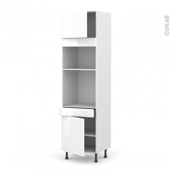Colonne de cuisine N°1356 - Four+MO encastrable niche 36/38 - IRIS Blanc - 2 portes 1 tiroir - L60 x H217 x P58 cm