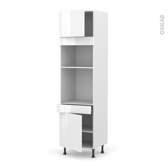Colonne de cuisine N°1356 - Four+MO encastrable niche 36/38 - STECIA Blanc - 2 portes 1 tiroir - L60 x H217 x P58 cm