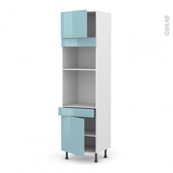 Colonne de cuisine N°1356 - Four+MO encastrable niche 36/38 - KERIA Bleu - 2 portes 1 tiroir - L60 x H217 x P58 cm